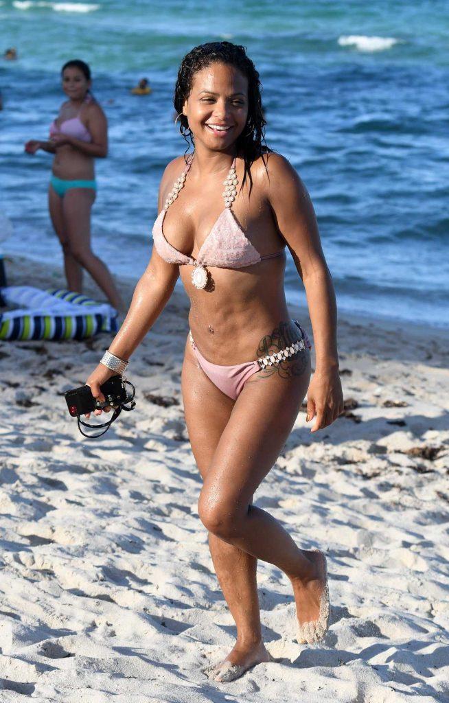 Christina Milian in Bikini at the Beach in Miami 07/11/2017-2