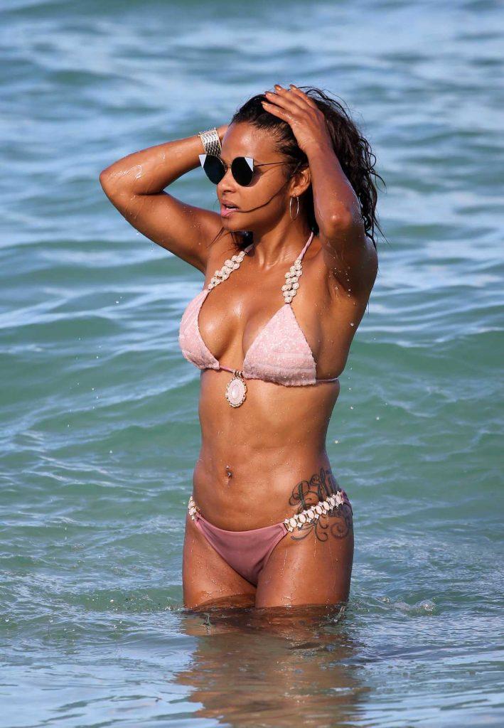 Christina Milian in Bikini at the Beach in Miami 07/11/2017-5