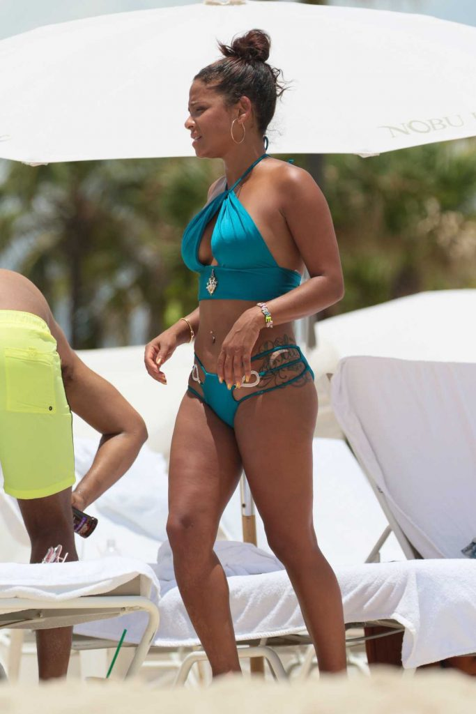 Christina Milian Wears a Blue Bikini at the Beach in Miami 07/20/2017-3