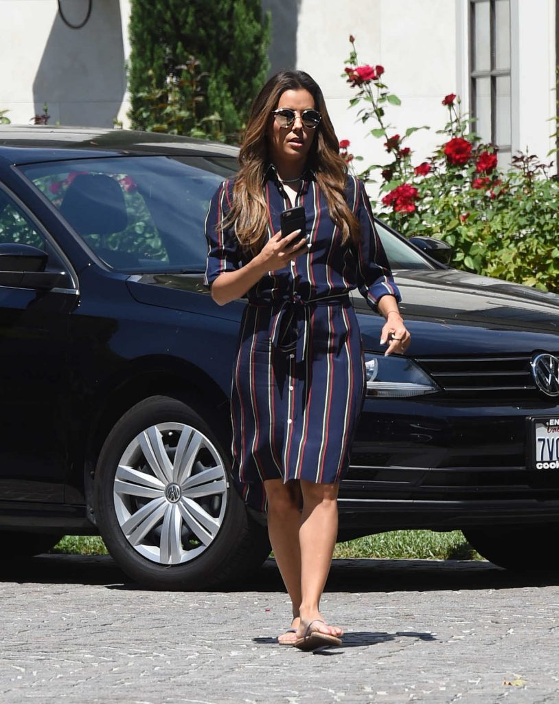 Eva Longoria Wears a Blue Dress With Red Stripes Out in Los Angeles 07/07/2017-1