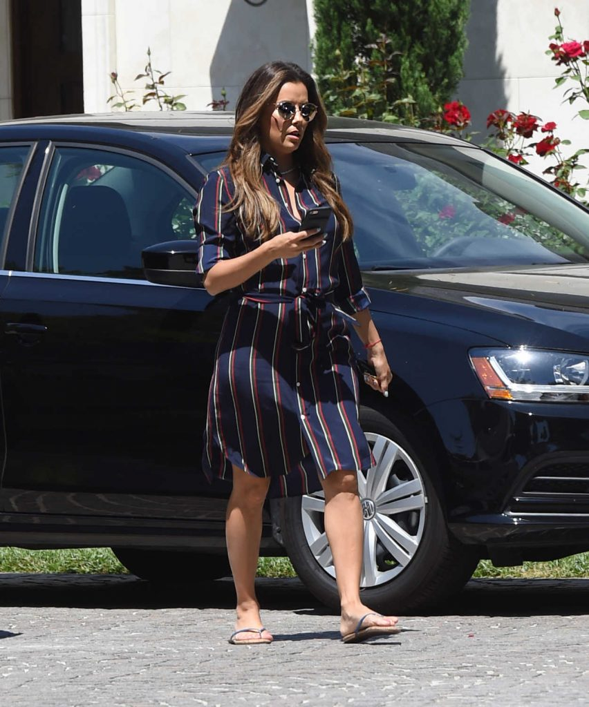 Eva Longoria Wears a Blue Dress With Red Stripes Out in Los Angeles 07/07/2017-2