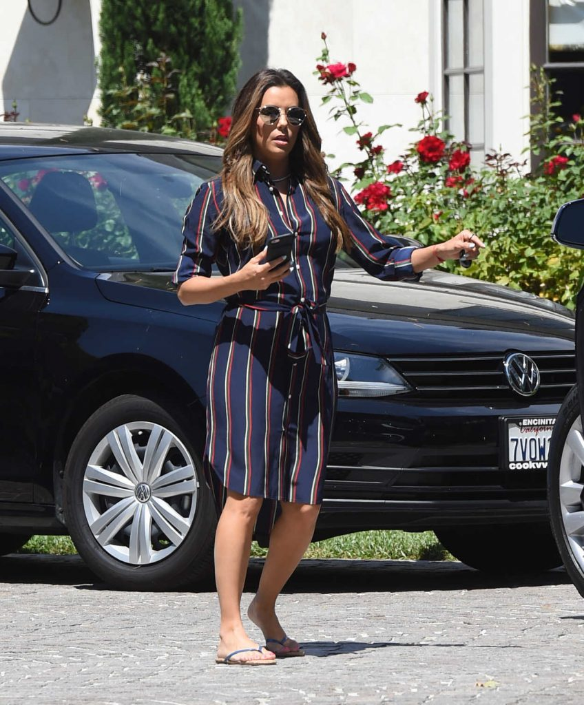 Eva Longoria Wears a Blue Dress With Red Stripes Out in Los Angeles 07/07/2017-3