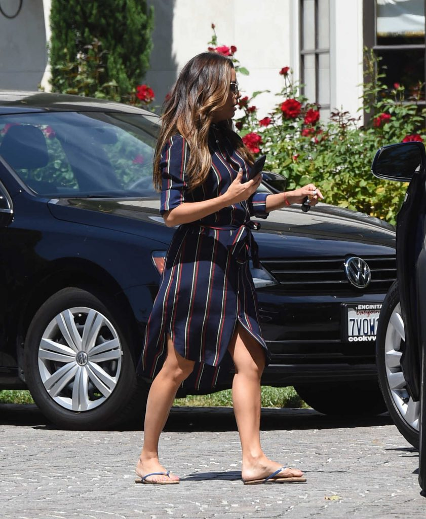 Eva Longoria Wears a Blue Dress With Red Stripes Out in Los Angeles 07/07/2017-4