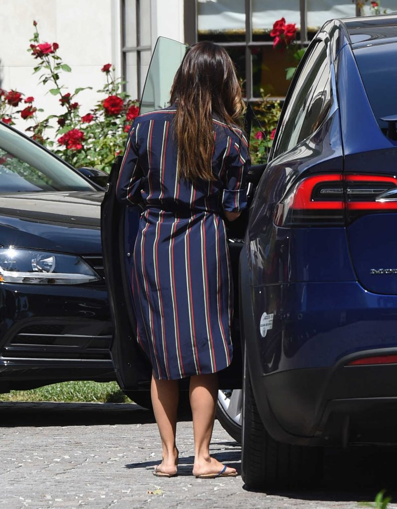 Eva Longoria Wears a Blue Dress With Red Stripes Out in Los Angeles 07/07/2017-5
