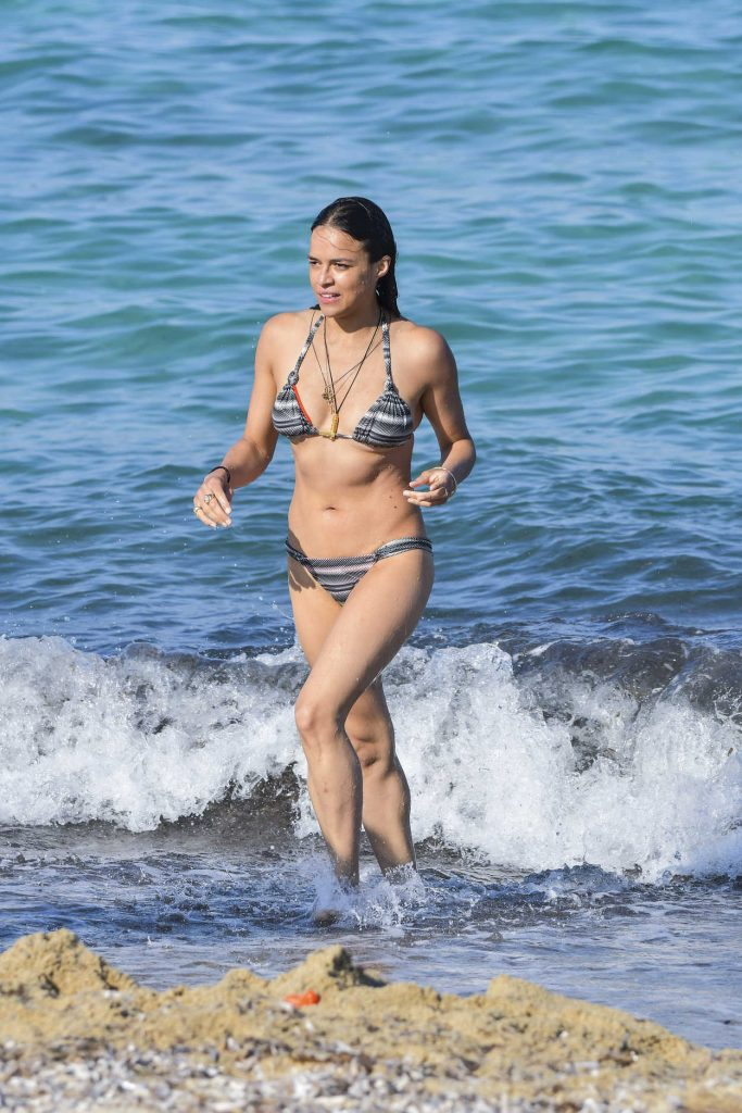 Michelle Rodriguez in Bikini at the Beach in St Tropez 07/09/2017-1