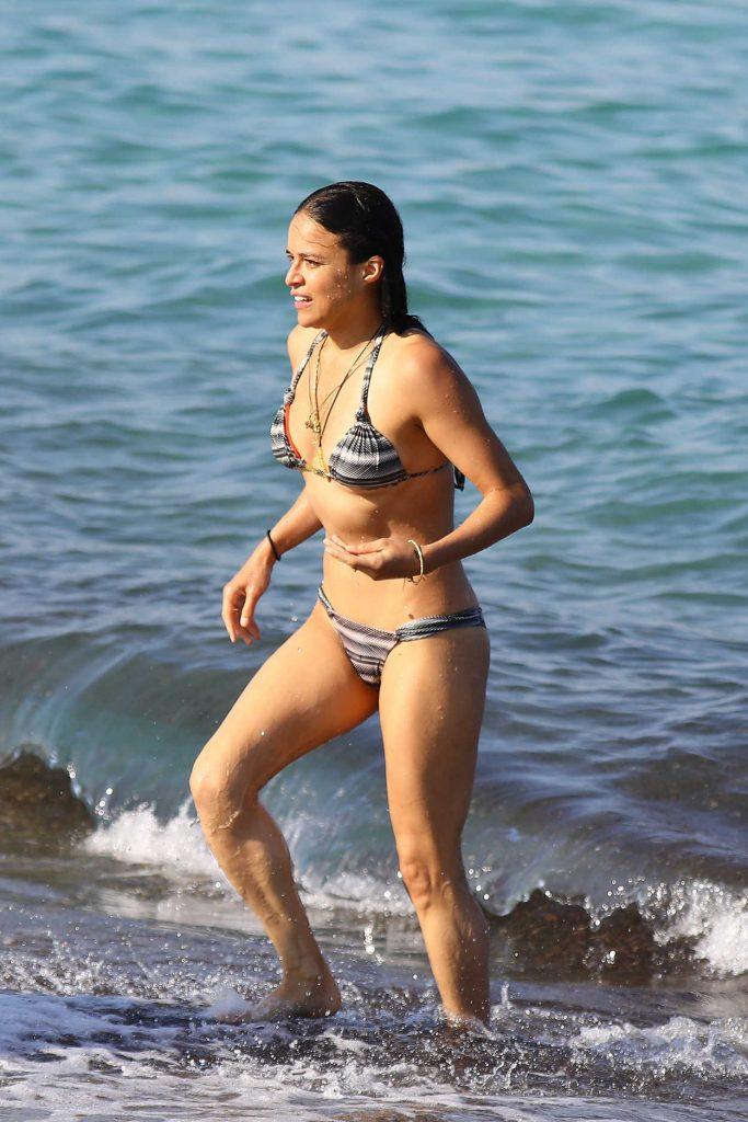 Michelle Rodriguez in Bikini at the Beach in St Tropez 07/09/2017-2
