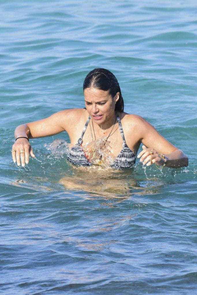 Michelle Rodriguez in Bikini at the Beach in St Tropez 07/09/2017-5