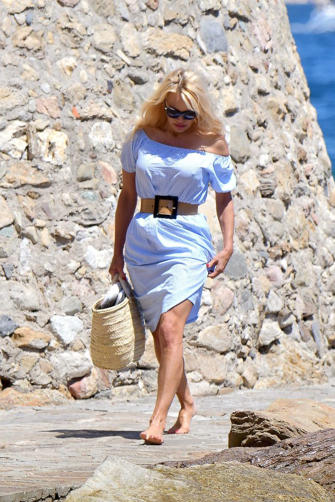 Pamela Anderson Walks Her Dog in St Tropez 06/29/2017-4