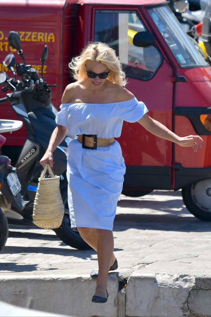 Pamela Anderson Walks Her Dog in St Tropez 06/29/2017-5
