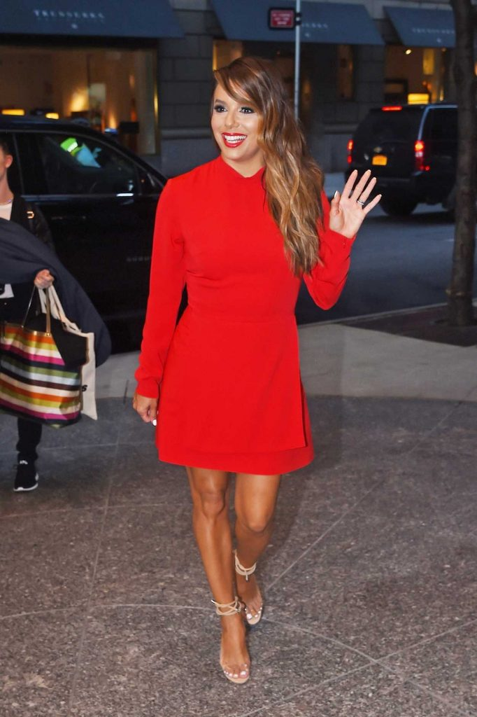 Eva Longoria Wears a Red Dress Out in New York 08/08/2017-2