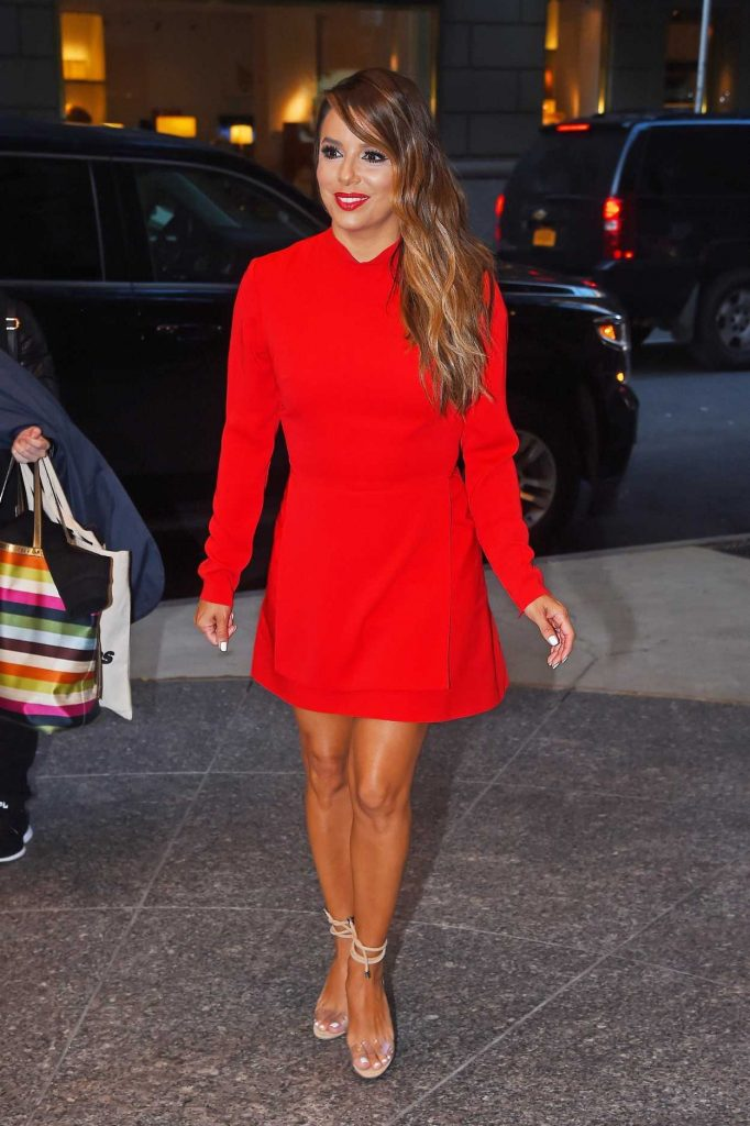 Eva Longoria Wears a Red Dress Out in New York 08/08/2017-3