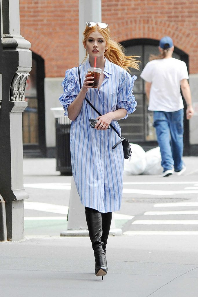 Katherine McNamara Cools off With an Ice Coffee Out in NYC 08/14/2017-1
