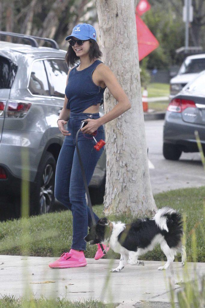 Nina Dobrev Walks Her Dog Maverick in LA 08/15/2017-2