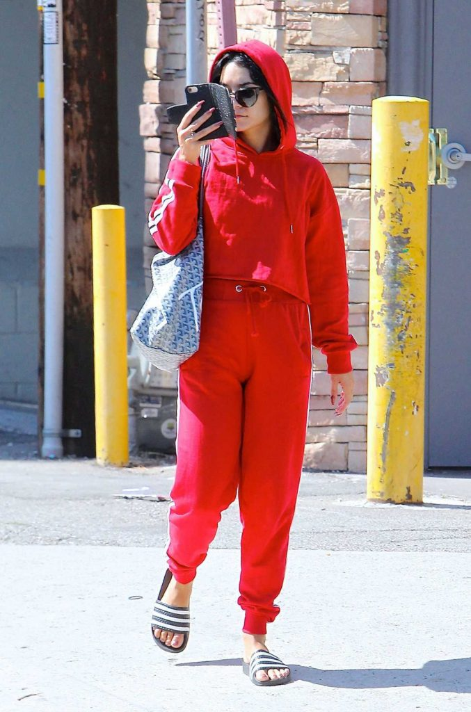 Vanessa Hudgens Wears a Red Tracksuit Out in Studio City 08/07/2017-1