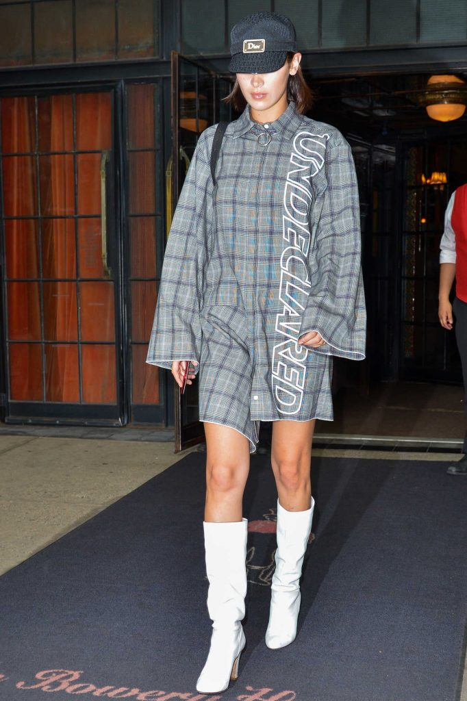 Bella Hadid Wears an Undeclared Dress in NYC 09/14/2017-4