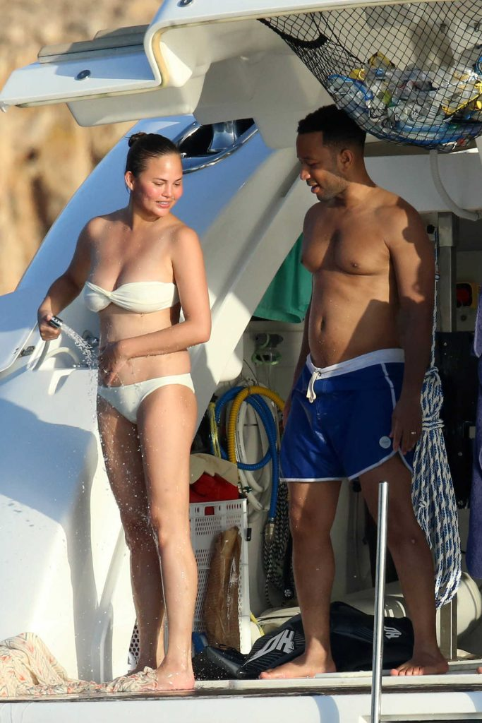 Chrissy Teigen in Bikini on a Yacht in Sardinia 08/30/2017-1