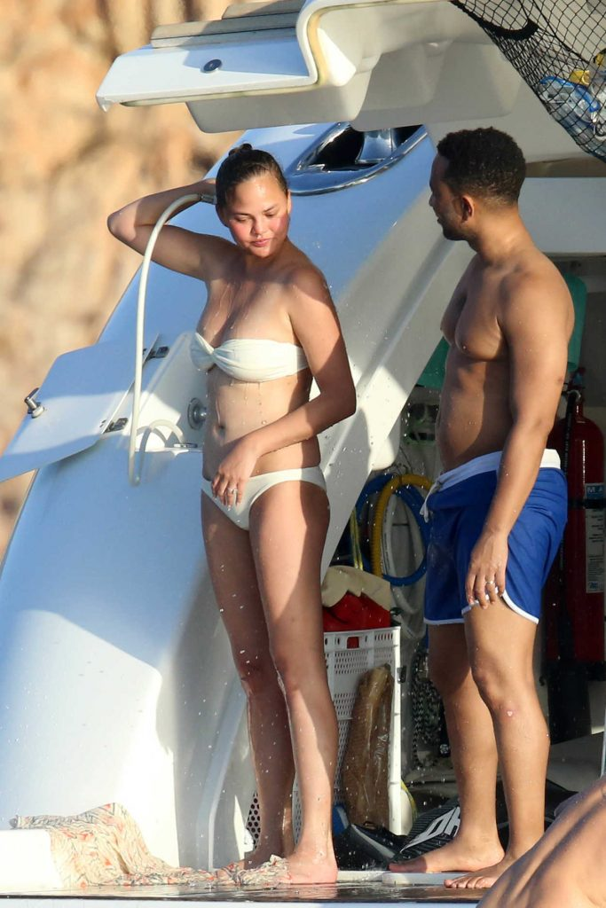 Chrissy Teigen in Bikini on a Yacht in Sardinia 08/30/2017-2