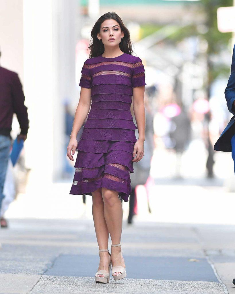 Danielle Campbell Wears a Purple Dress in New York City 09/07/2017-1