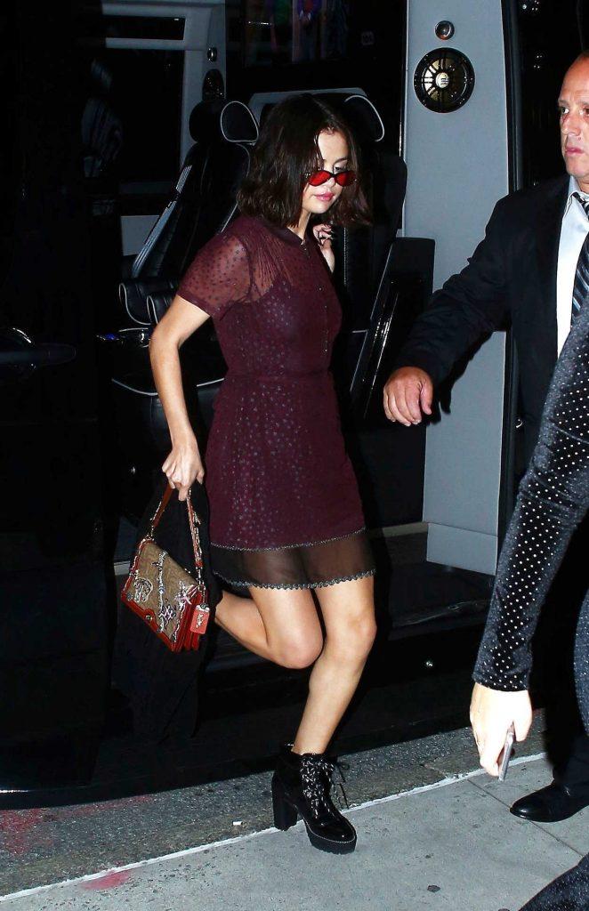 Selena Gomez Wears a Purple Sheer Dress Out in NYC 09/12/2017-1