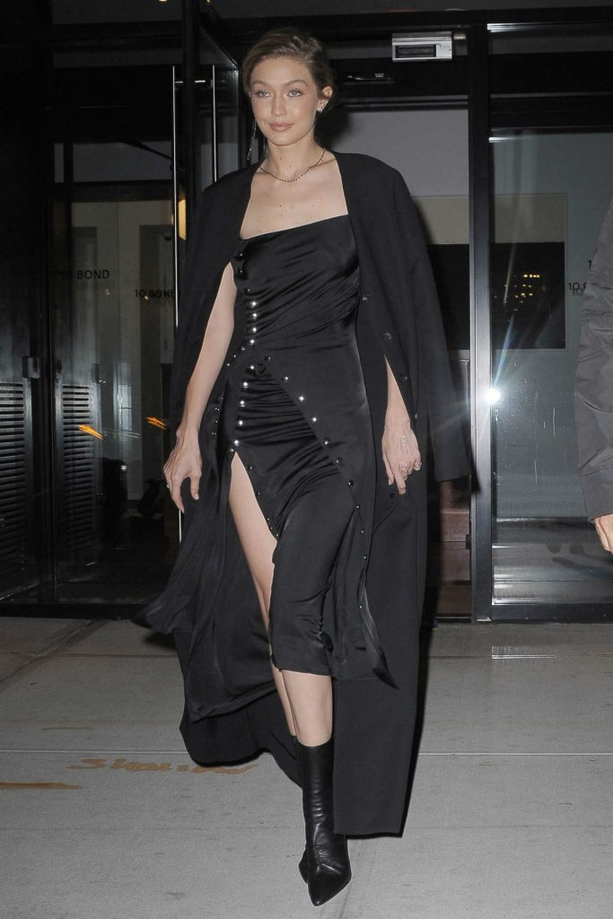 Gigi Hadid Wears All Black Out in NYC 10/30/2017-1