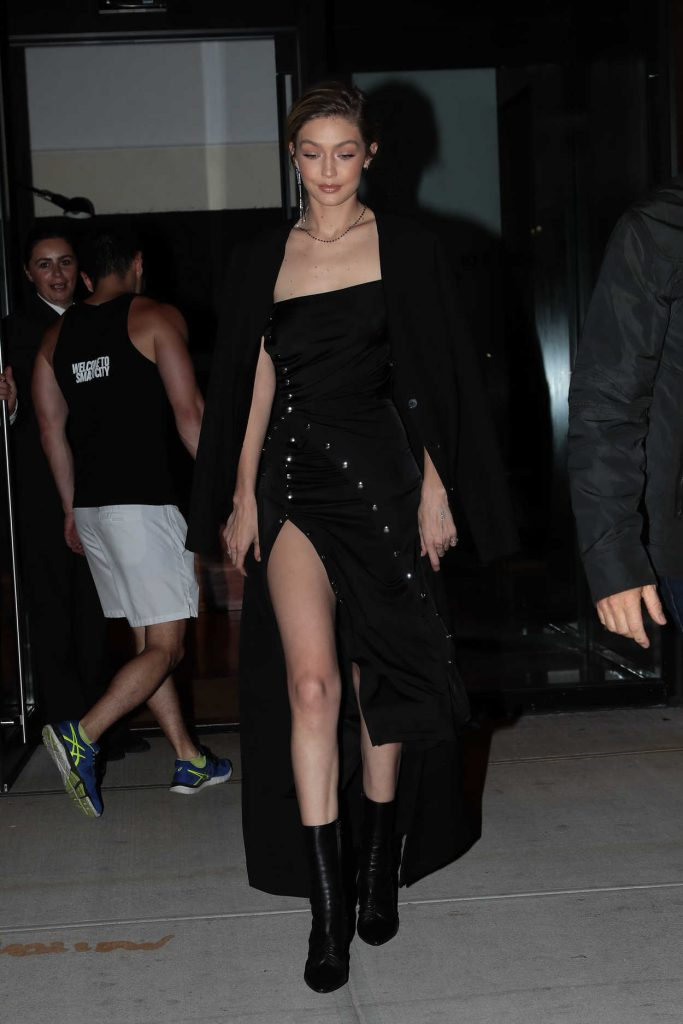 Gigi Hadid Wears All Black Out in NYC 10/30/2017-3