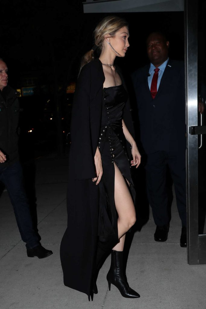 Gigi Hadid Wears All Black Out in NYC 10/30/2017-5