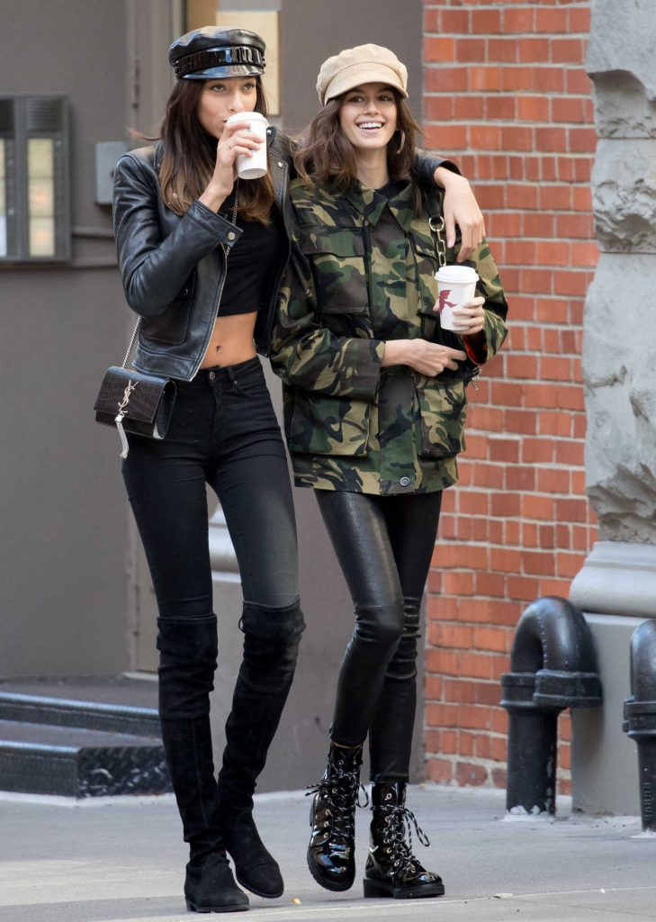 Kaia Gerber Gets a Coffee With a Friend in NYC 10/30/2017-1