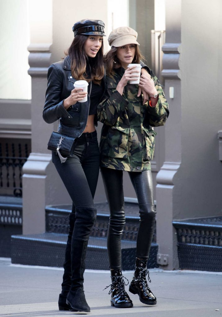Kaia Gerber Gets a Coffee With a Friend in NYC 10/30/2017-3