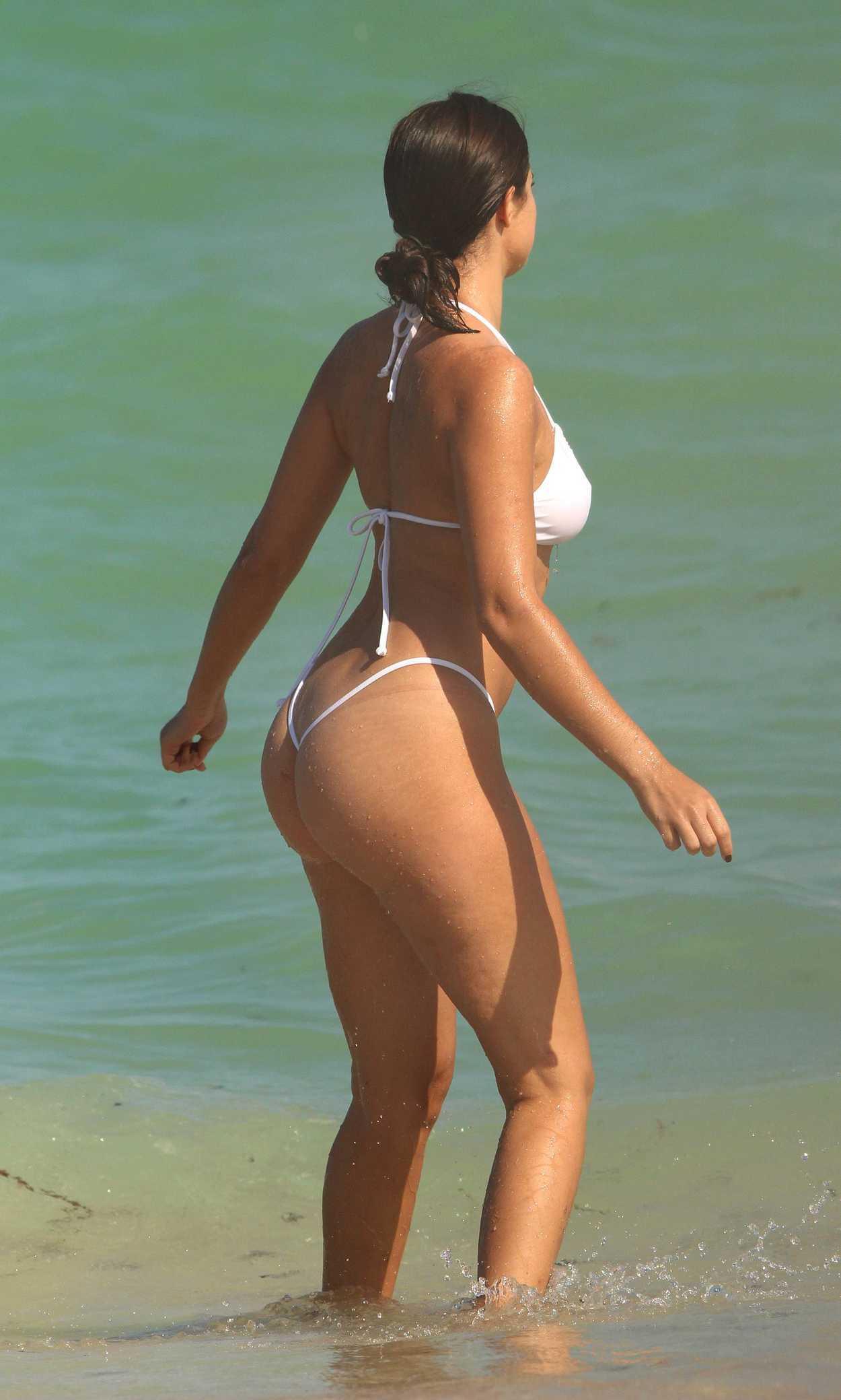 Tao Wickrath in a White Bikini on Miami Beach 2 Pic 8 of 35