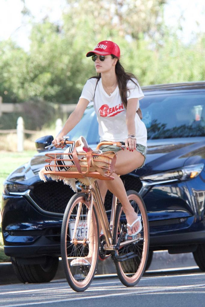 Alessandra Ambrosio Rides Her Bicycle in Santa Monica 11/23/2017-3