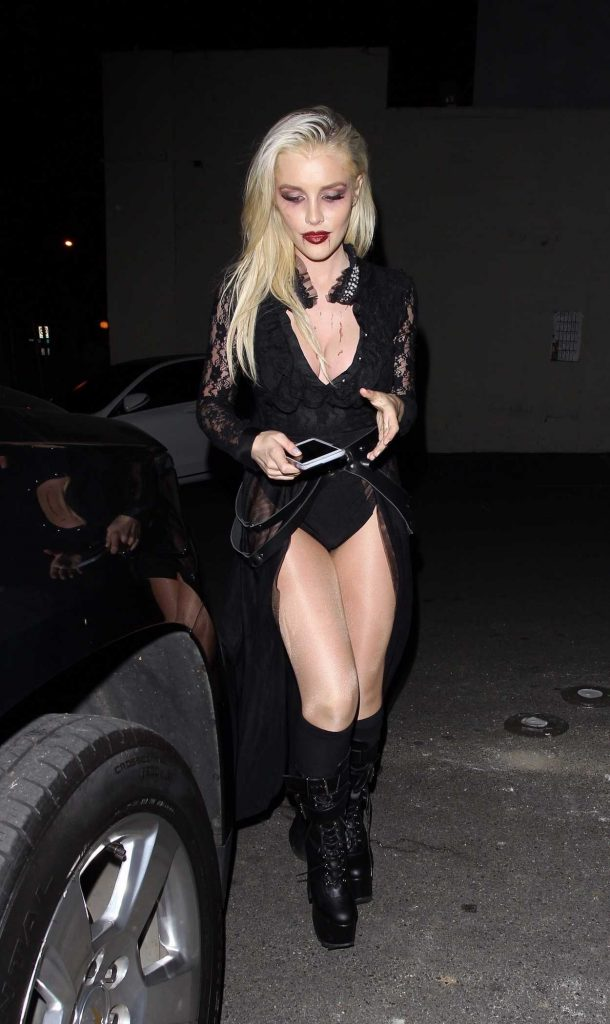 Bebe Rexha Arrives at a Halloween Party at Delilah Night Club in West Hollywood 10/31/2017-1