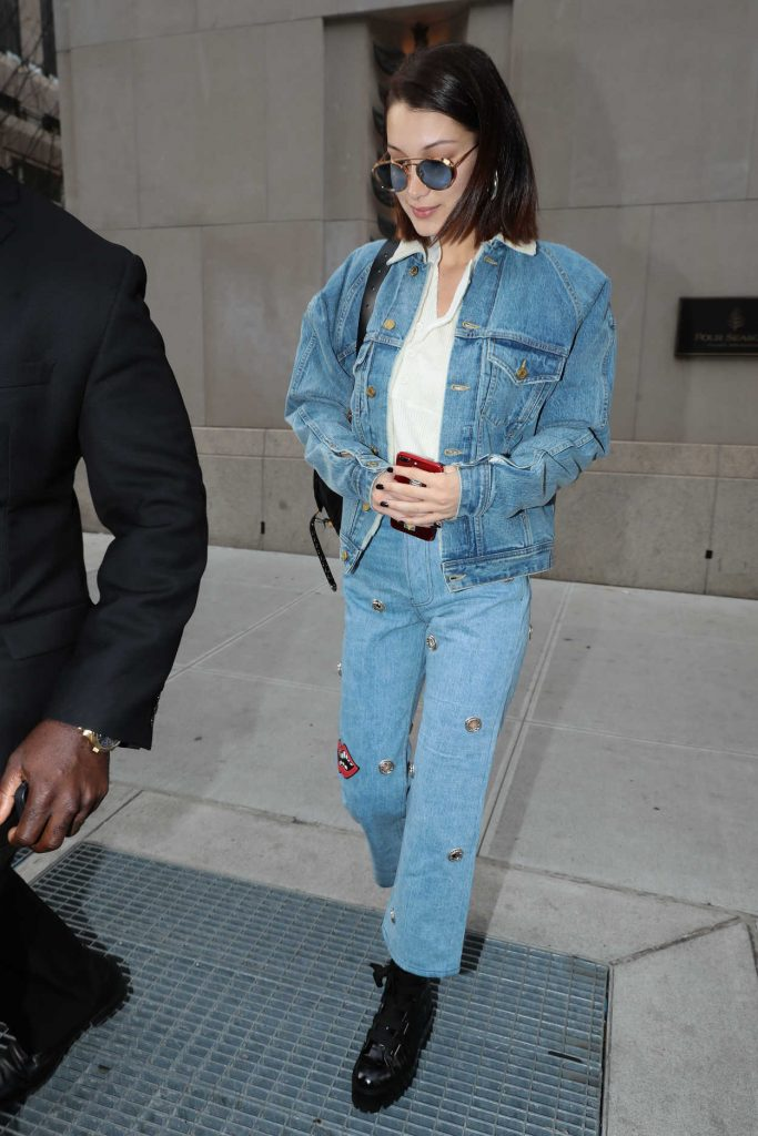 Bella Hadid Wears a Blue Denim Out in NYC 11/14/2017-1