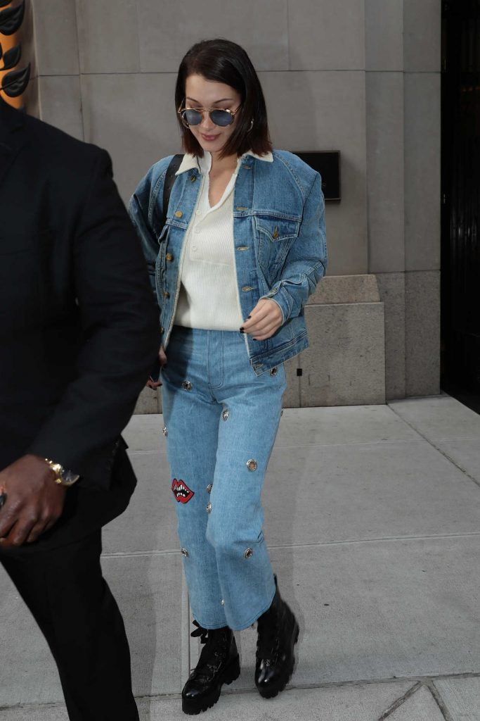 Bella Hadid Wears a Blue Denim Out in NYC 11/14/2017-2