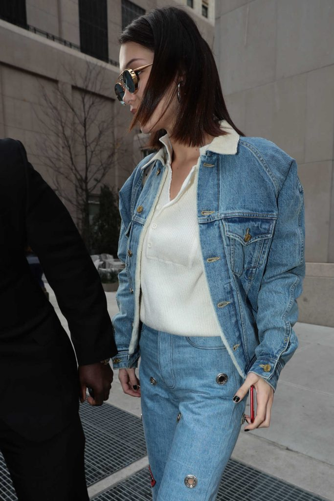 Bella Hadid Wears a Blue Denim Out in NYC 11/14/2017-4