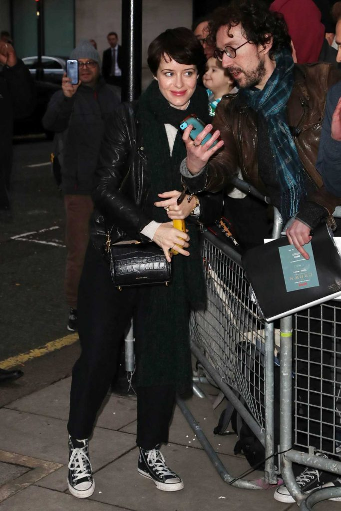 Claire Foy Arrives at BBC Radio Two Studios in London 11/25/2017-2