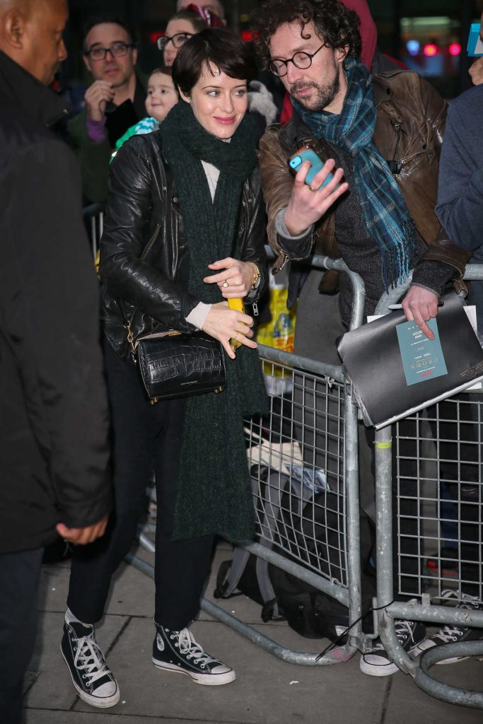Claire Foy Arrives at BBC Radio Two Studios in London 11/25/2017-3