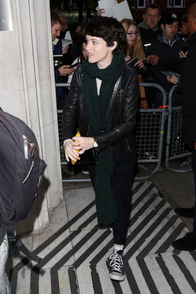Claire Foy Arrives at BBC Radio Two Studios in London 11/25/2017-4
