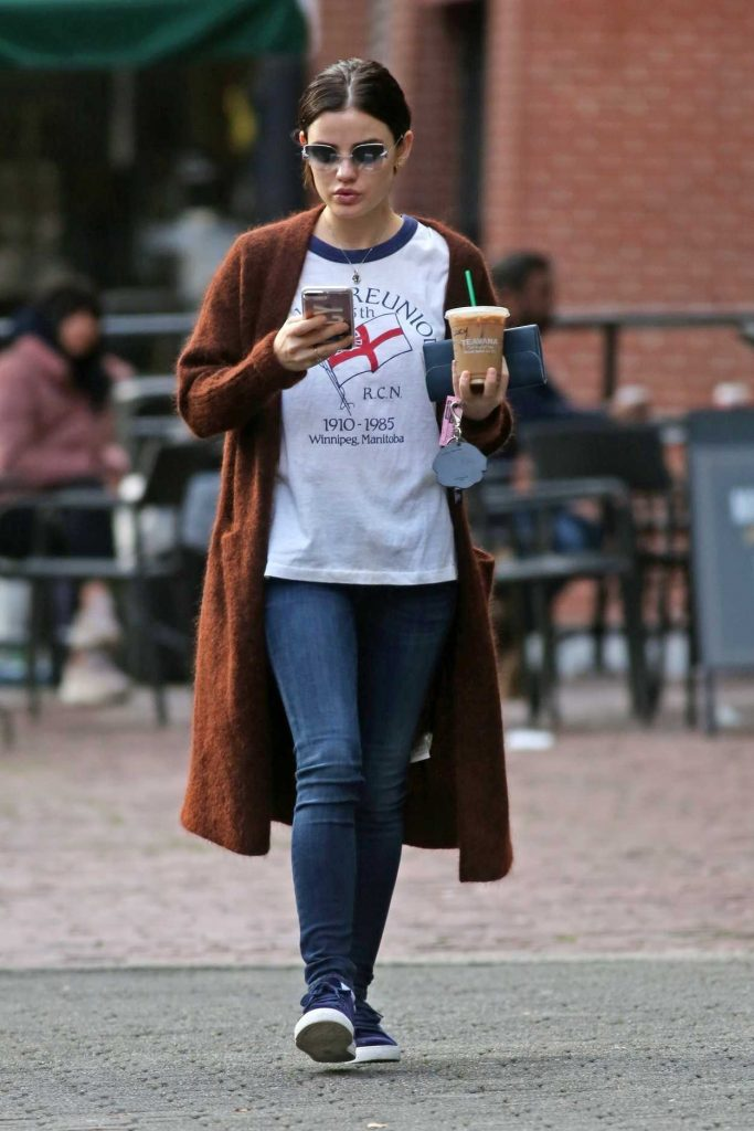 Lucy Hale Grabs an Early Iced Coffee Out in Vancouver 11/17/2017-1