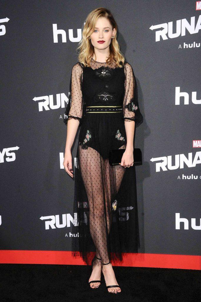 Virginia Gardner at the Runaways Premiere at Regency Bruin Theatre in Los Angeles 11/16/2017-1