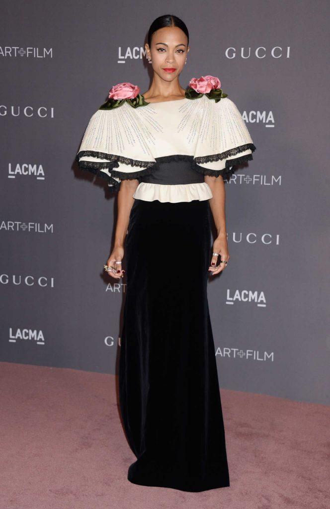 Zoe Saldana at 2017 LACMA Art + Film Gala Honoring Mark Bradford and George Lucas in Los Angeles 11/04/2017-1