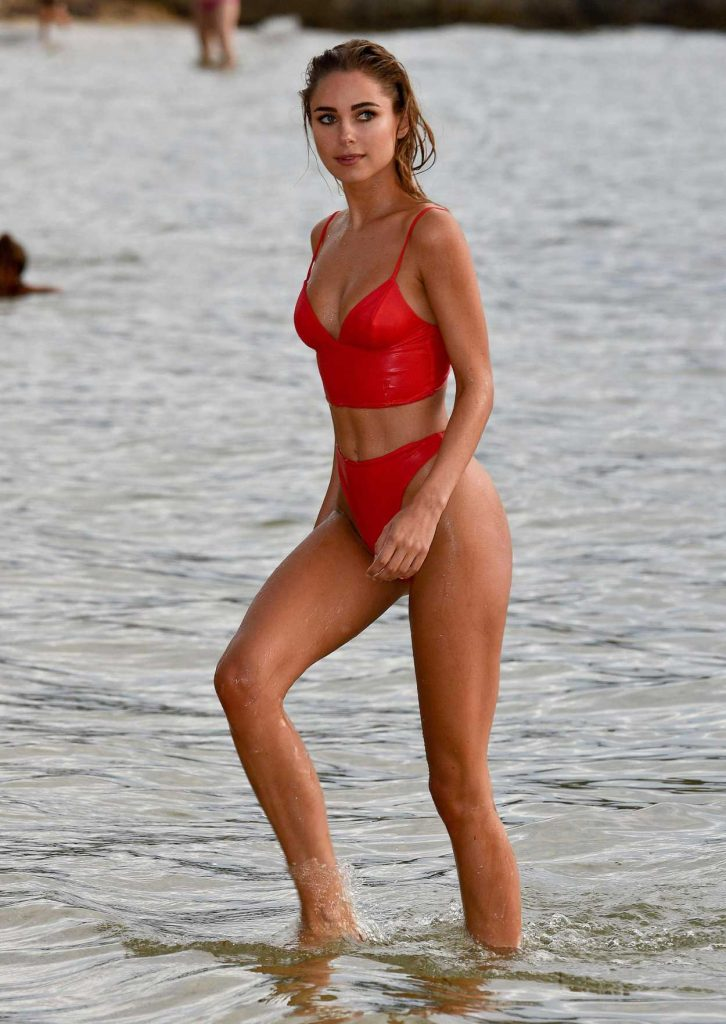 Kimberley Garner Wears a Red Bikini at the Beach in Caribbean 12/23/2017-1