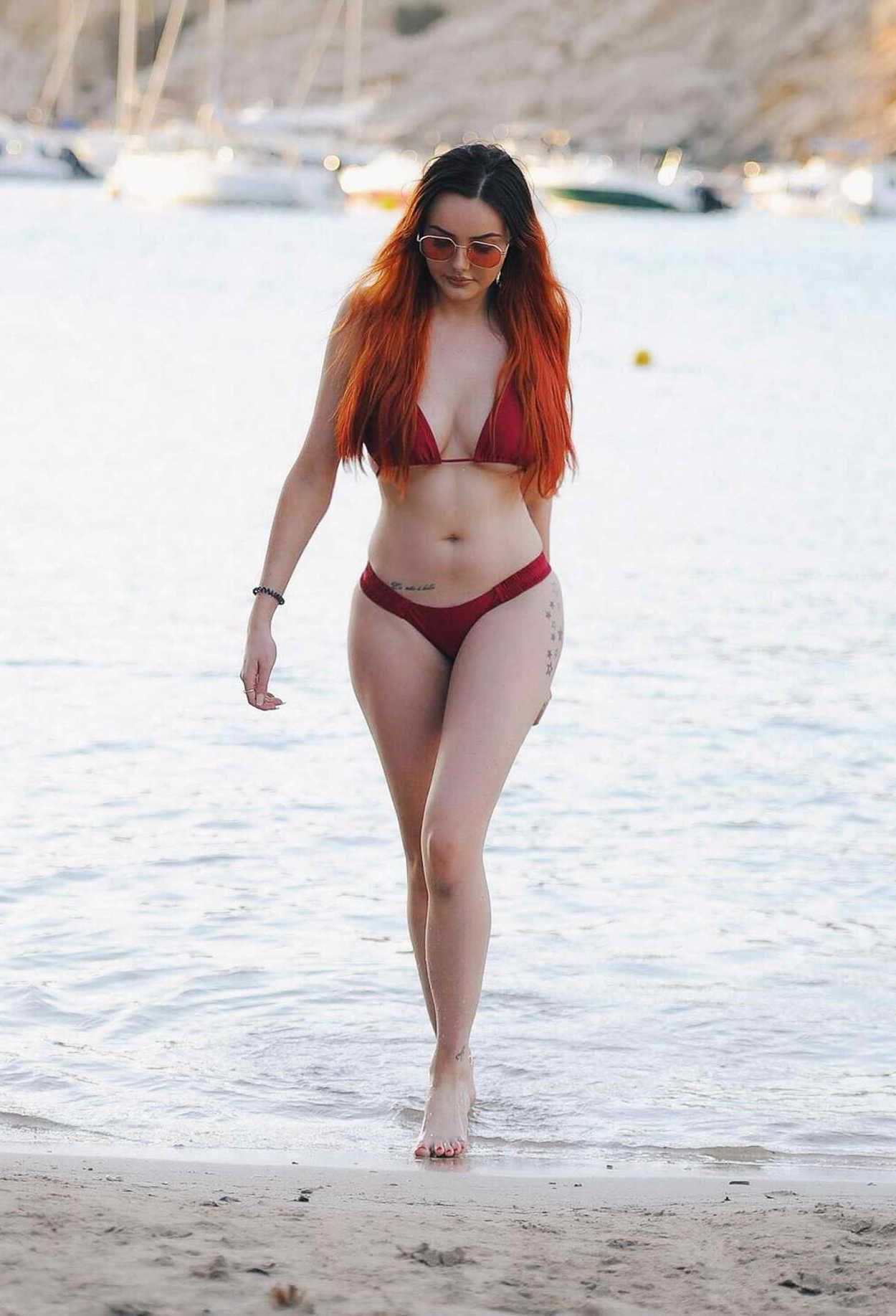 Sarah Goodhart in Red Bikini on the beach in Tenerife