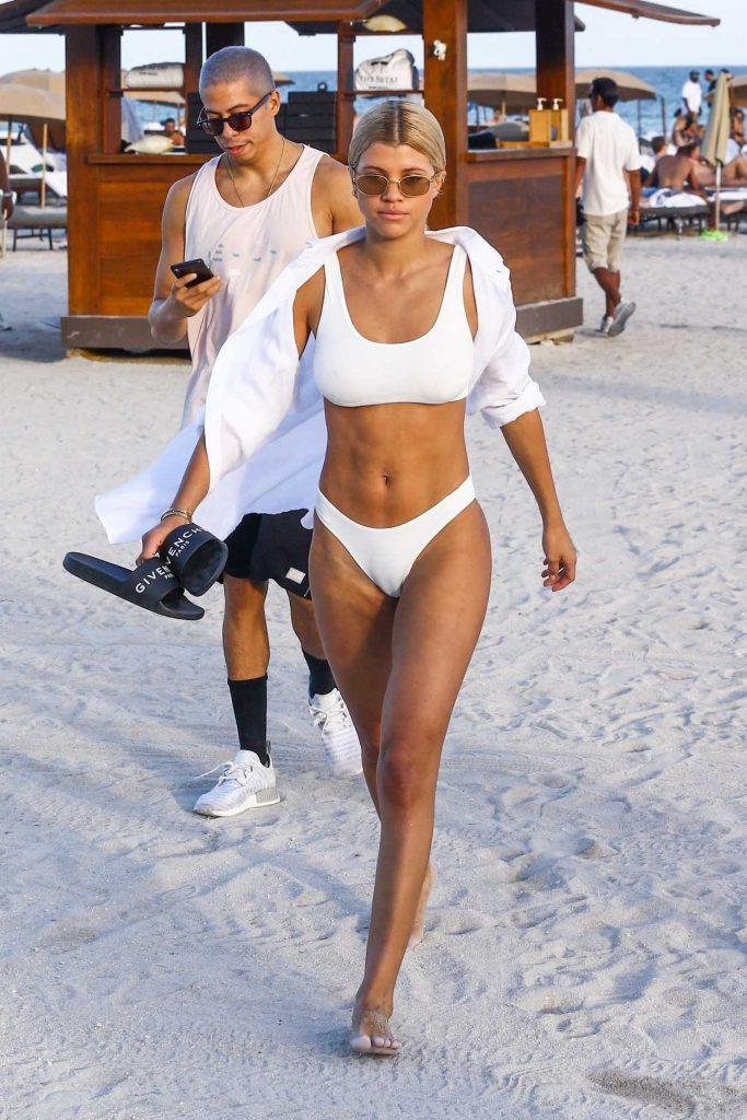 Sofia Richie Wears a White Bikini at the Beach in Miami 12/08/2017-3