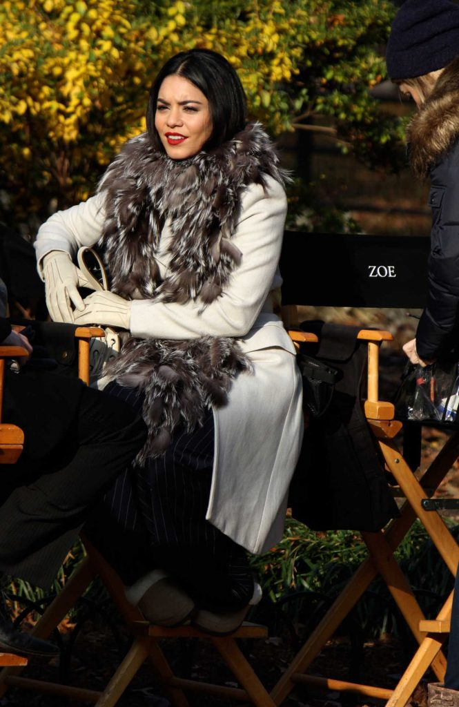 Vanessa Hudgens on the Set of Second Act in NYC 12/04/2017-2