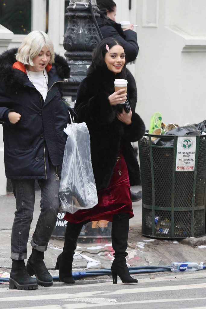 Vanessa Hudgens on the Set of Second Act in NYC 12/14/2017-1