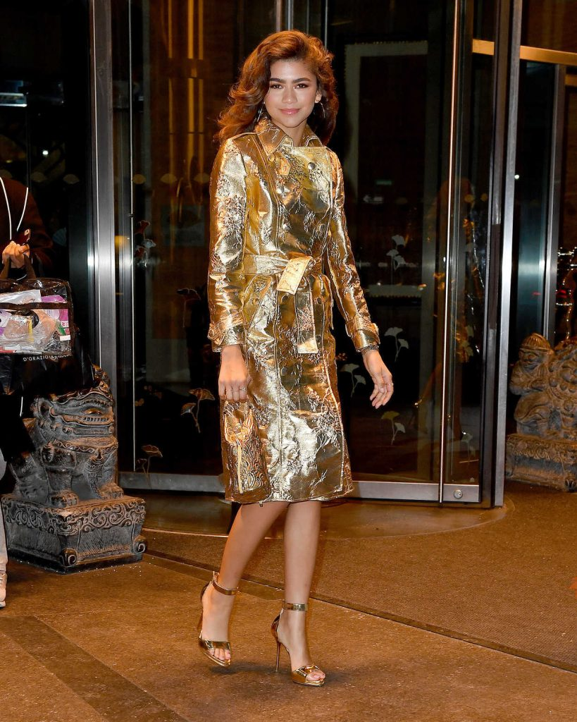 Zendaya Wears an all Gold Out in New York City 12/11/2017-1