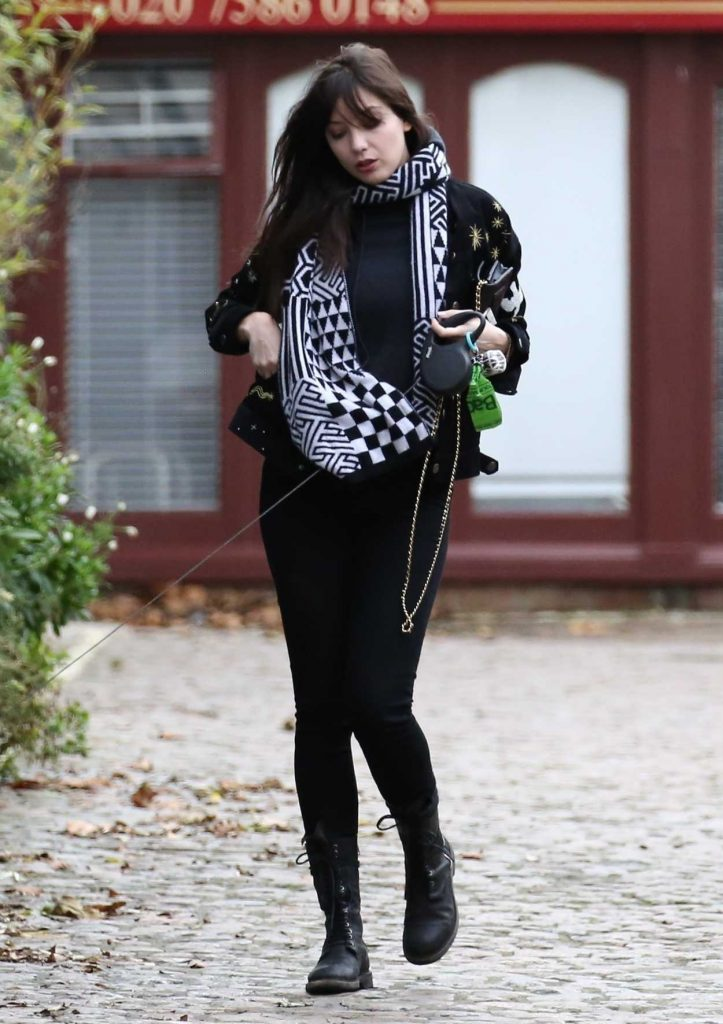Daisy Lowe Walks Her Dog in Primrose Hill in London 12/30/2017-1