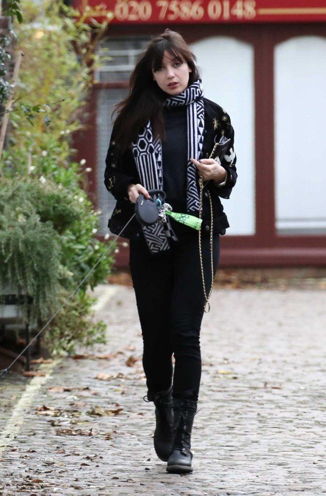 Daisy Lowe Walks Her Dog in Primrose Hill in London 12/30/2017-2
