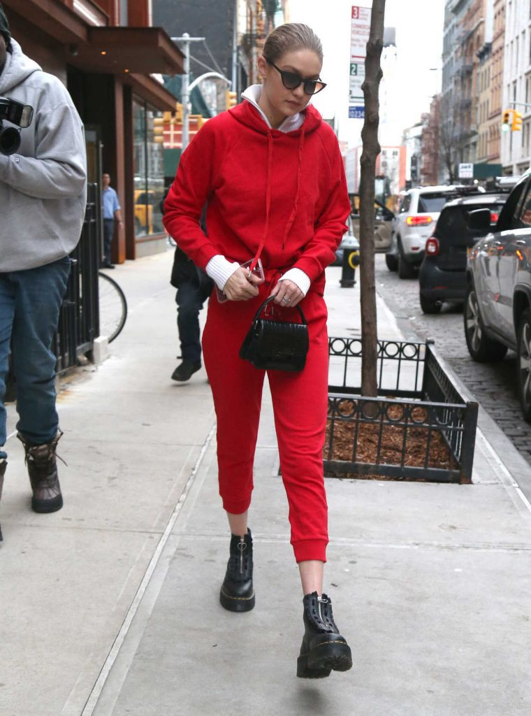 Gigi Hadid Wears All Red Out in NYC 01/30/2018-1