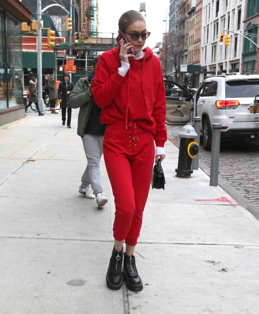 Gigi Hadid Wears All Red Out in NYC 01/30/2018-2
